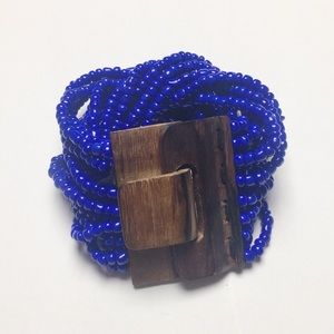 Blue Beaded Wood Clasp Bracelet